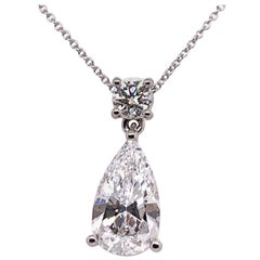 GIA Certified 3.46 Carat Pear Brilliant D VVS2 No Fluor, Natural Diamond Pendant