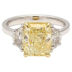 GIA Certified 3.46 Carat Yellow Radiant Cut Center Three-Stone Ring