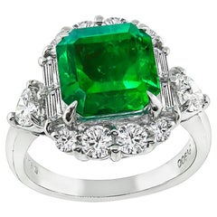 GIA Certified 3.48 Carat Natural Colombian Emerald Diamond Platinum Ring