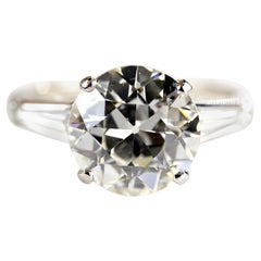GIA Certified 3.48 Carats Old Euro Diamond Engagement Ring
