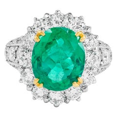 GIA Certified 3.49 Carat Natural Colombian Emerald Platinum Cocktail Ring