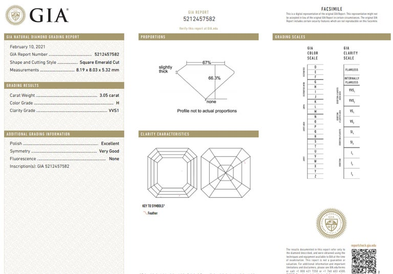 Women's GIA Certified 3.50 Carat Asscher Cut Diamond VVS1 Clarity H Color For Sale