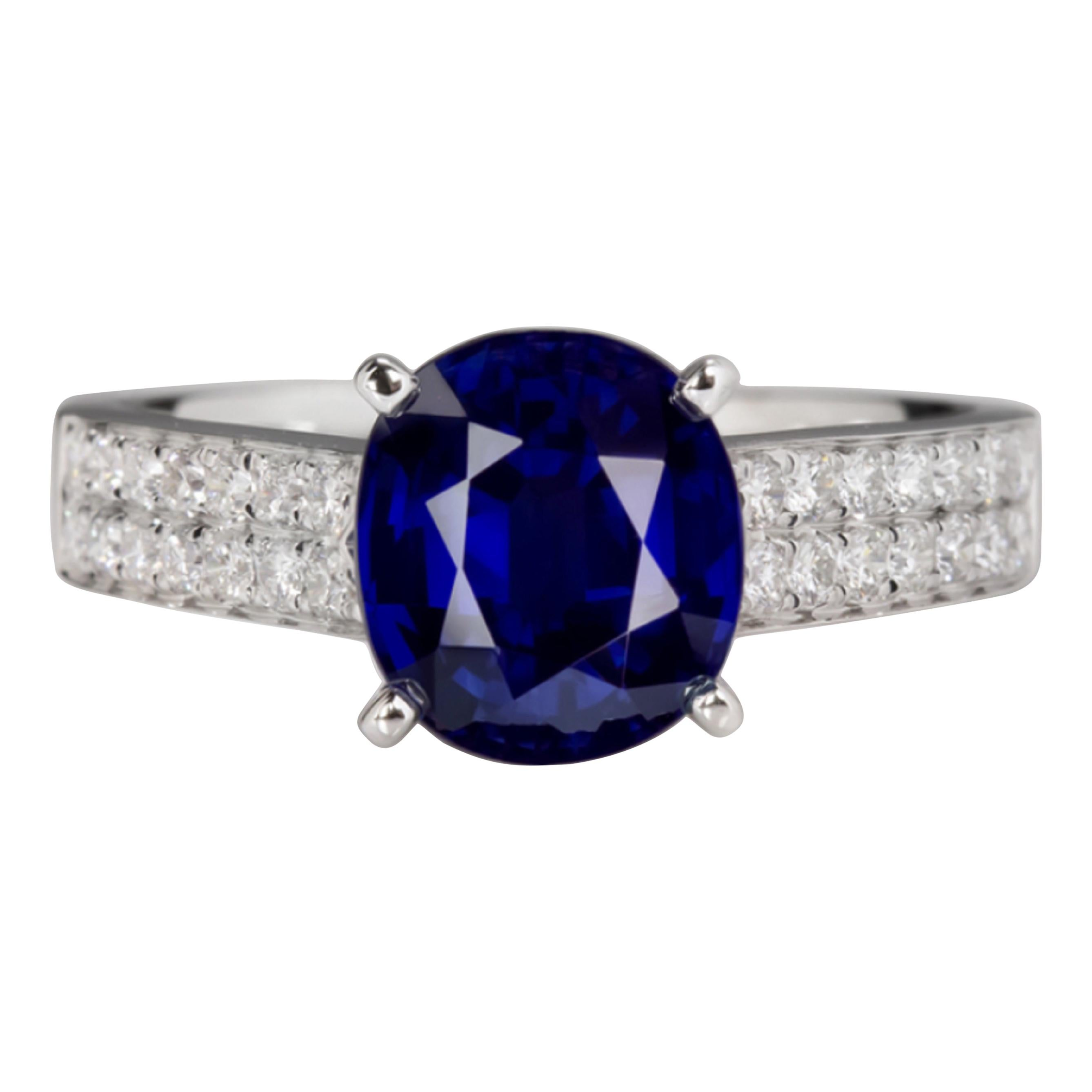 GIA Certified 3.50 Carat Blue Sapphire Diamond White Gold Ring