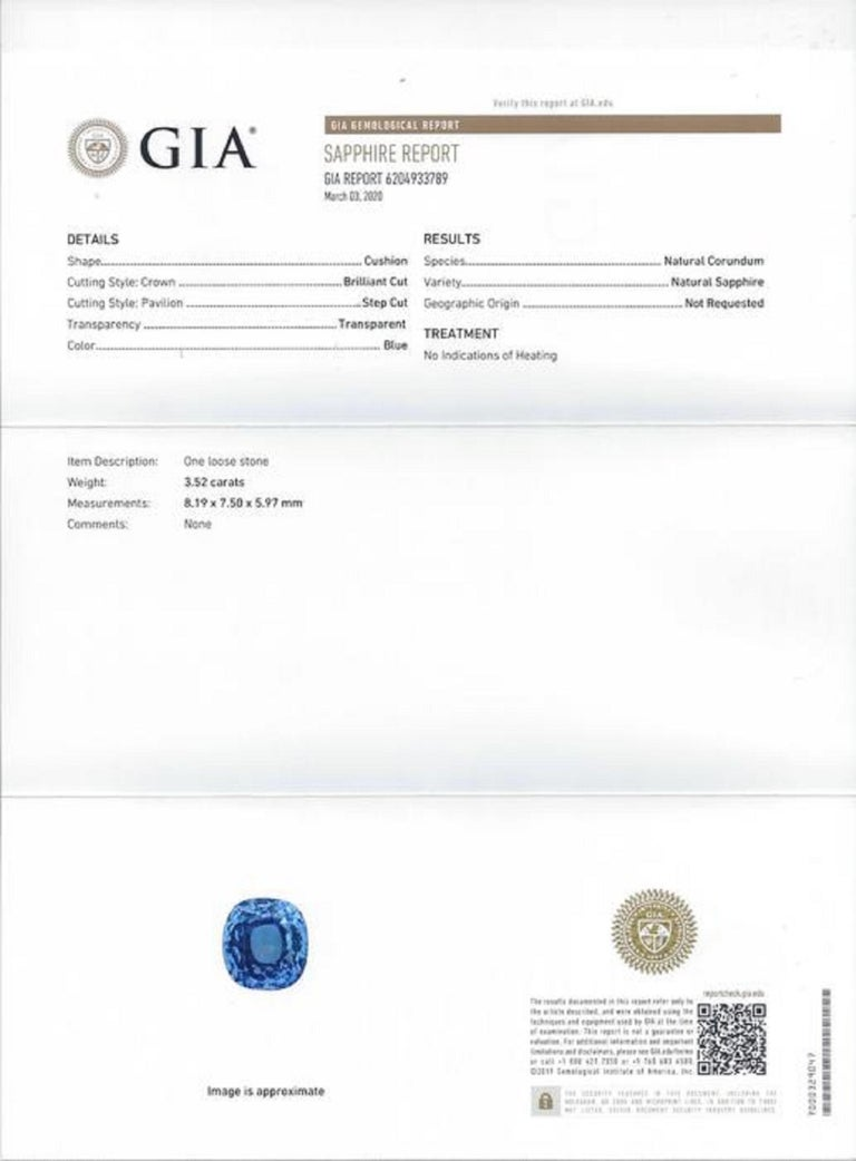 Cushion Cut GIA Certified 3.50 Carat Ceylon Sapphire No Heated Diamond Cocktail Ring For Sale