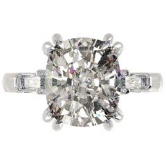 FLAWLESS F Color GIA Certified 2.75 Cushion Diamond Ring