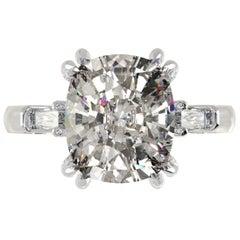 GIA Certified 3.50 Carat Cushion Diamond Ring