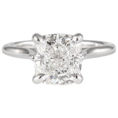 GIA Certified 3.50 Carat Cushion Diamond Solitaire Ring 18 Karat White Gold