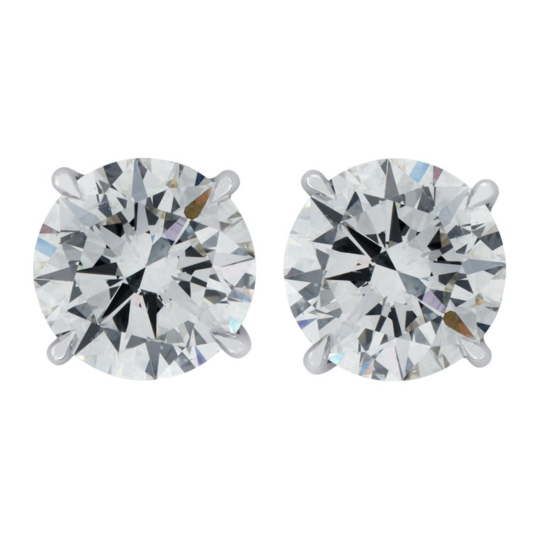 Round Cut Vivid Diamonds GIA Certified 3.50 Carat Diamond Stud Earrings For Sale