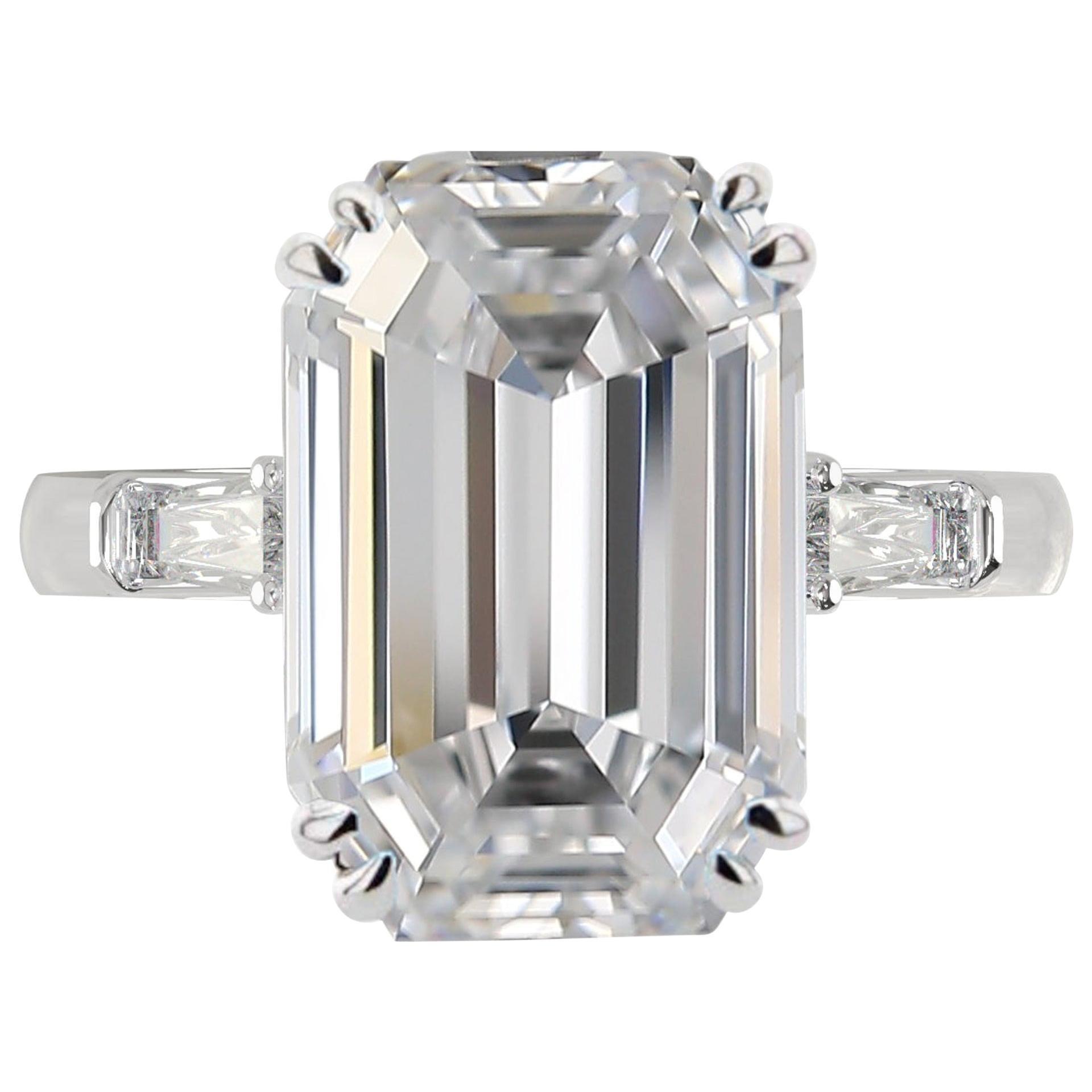 GIA Certified 3.50 Carat Emerald-Cut Diamond Ring D Color VS2 Clarity