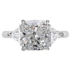 GIA Certified 3.50 Carat F VS1 Cushion Cut Diamond Three-Stone White Gold Ring