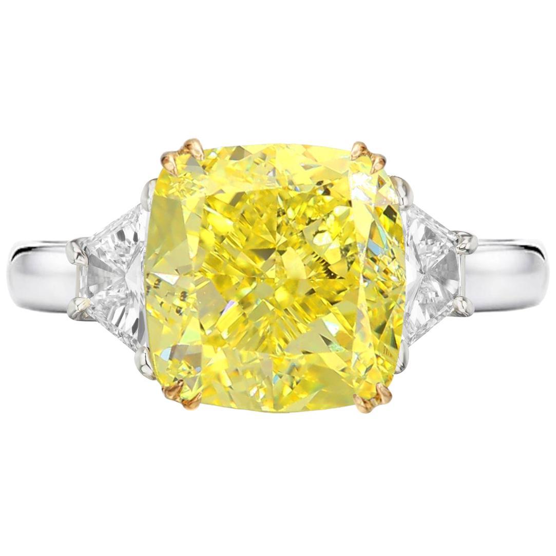 GIA Certified 3.50 Carat Fancy Intense Yellow Cushion Platinum Ring