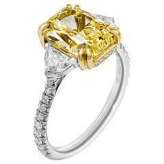GIA Certified 3.50 Carat Fancy Yellow Cocktail Ring