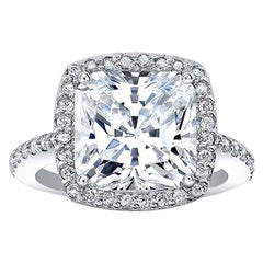 GIA Certified 4.50 Carat H VS2 Cushion Cut Diamond Excellent Cut