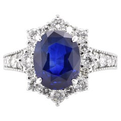 GIA Certified 3.50 Carat, Natural Sapphire and Diamond Ring Set in Platinum