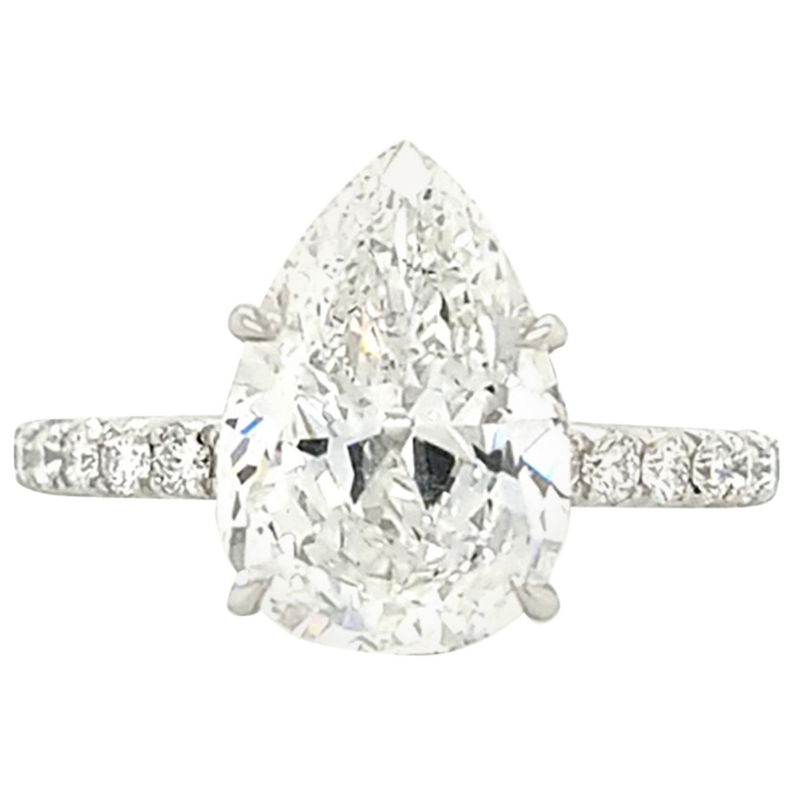 GIA Certified 3.50 Carat Pear Shape Diamond Platinum Engagement Ring