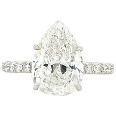 GIA Certified 3.50 Carat Pear Shape Diamond Platinum Engagement Ring