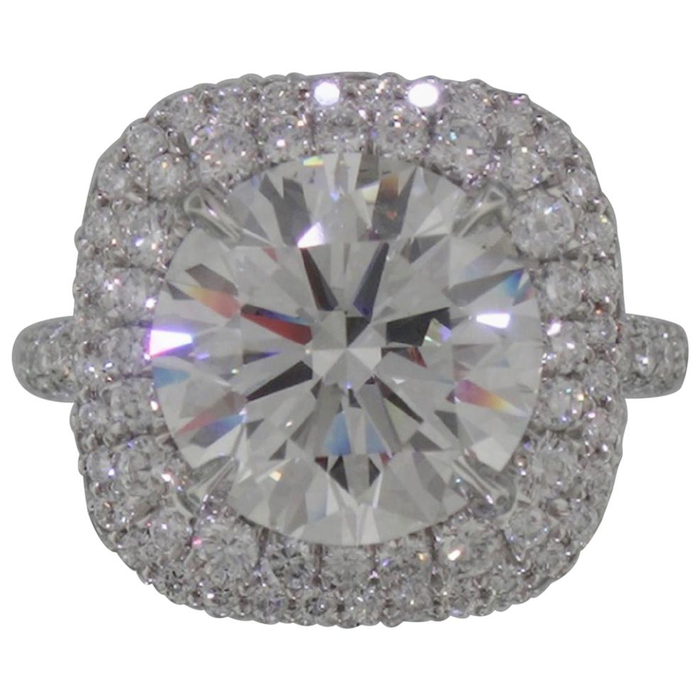 GIA Certified 3 Carat Round Brilliant Cut Diamond Double Halo Pave Ring D VS2