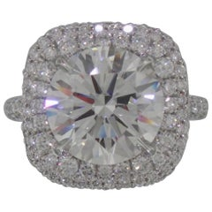 GIA Certified 3 Carat Round Brilliant Cut Diamond Double Halo Pave Ring D VS1