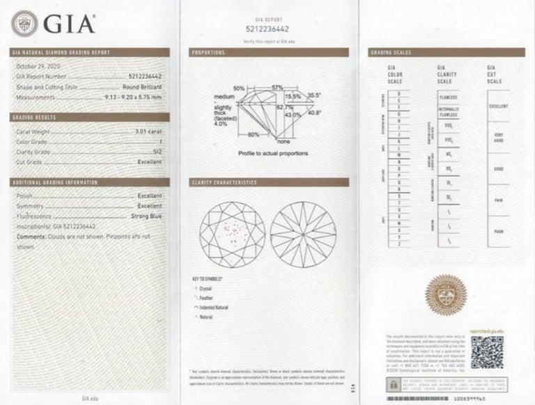 GIA Certified 3.50 Carat Round Brilliant Cut Diamond Platinum Ring  For Sale 1