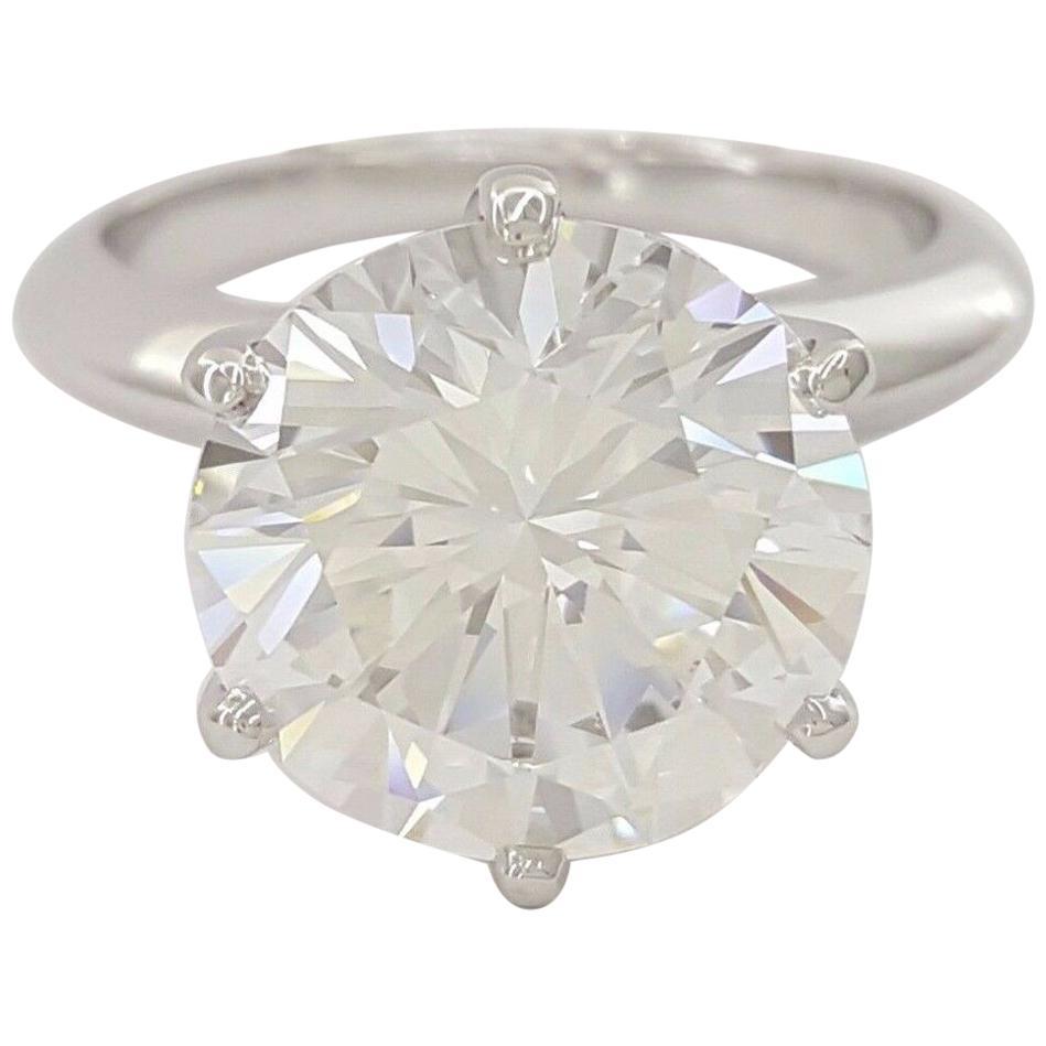 IGI ANTWERP Certified 4.10 Carat Round Brilliant Cut Diamond Platinum Ring VVS2