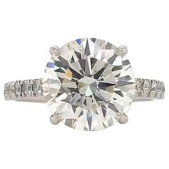 GIA Certified 4 Carat Round Brilliant Cut Diamond Ring
