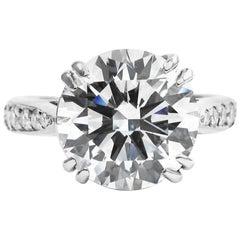 GIA Certified 3.50 Carat Round Brilliant Cut Natural Diamond Ring