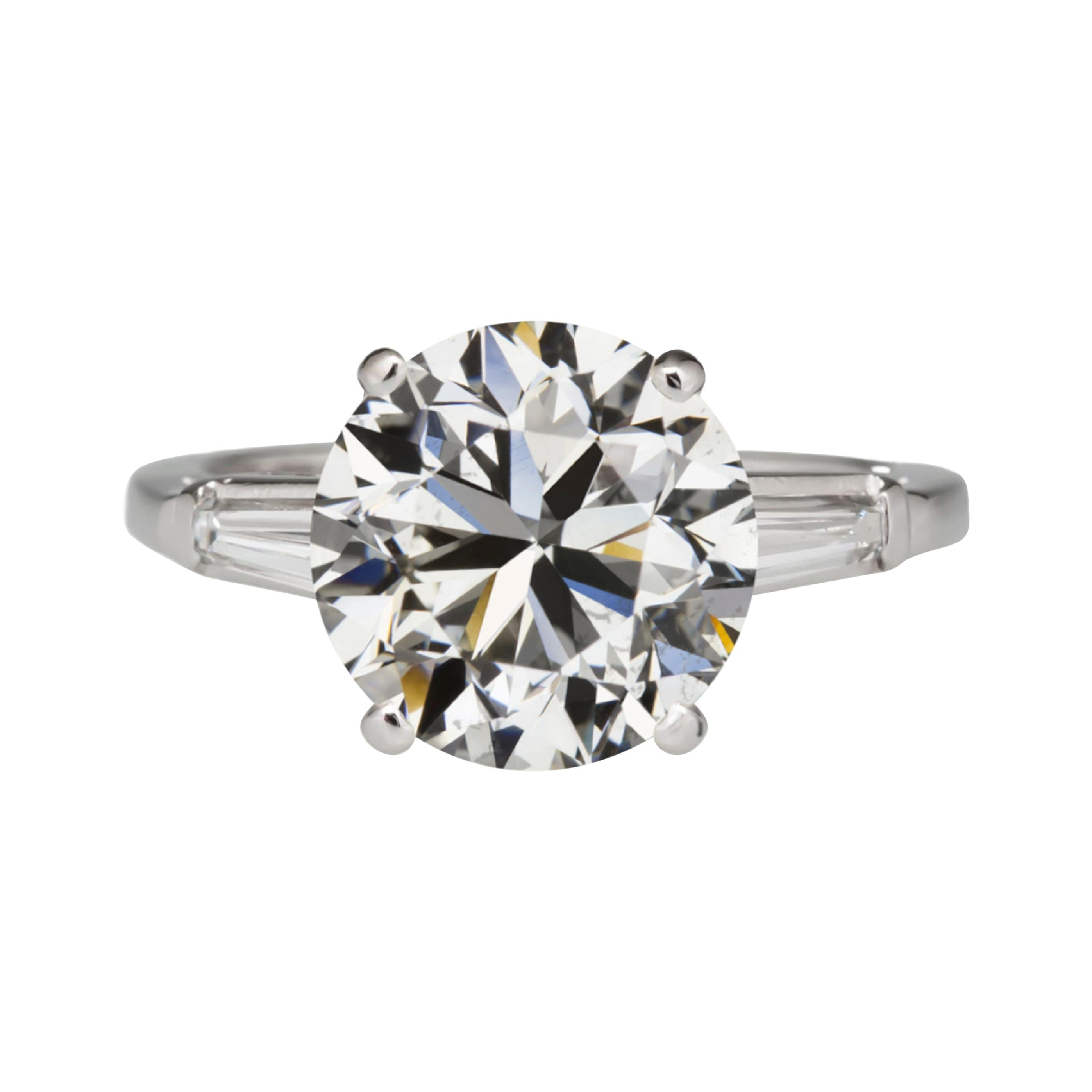 GIA Certified 3 Carat Round Brilliant Cut Diamond Tapered Baguette Ring