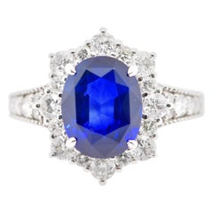 GIA Certified 3.50 Carat Sapphire and Diamond Engagement Ring Set in Platinum