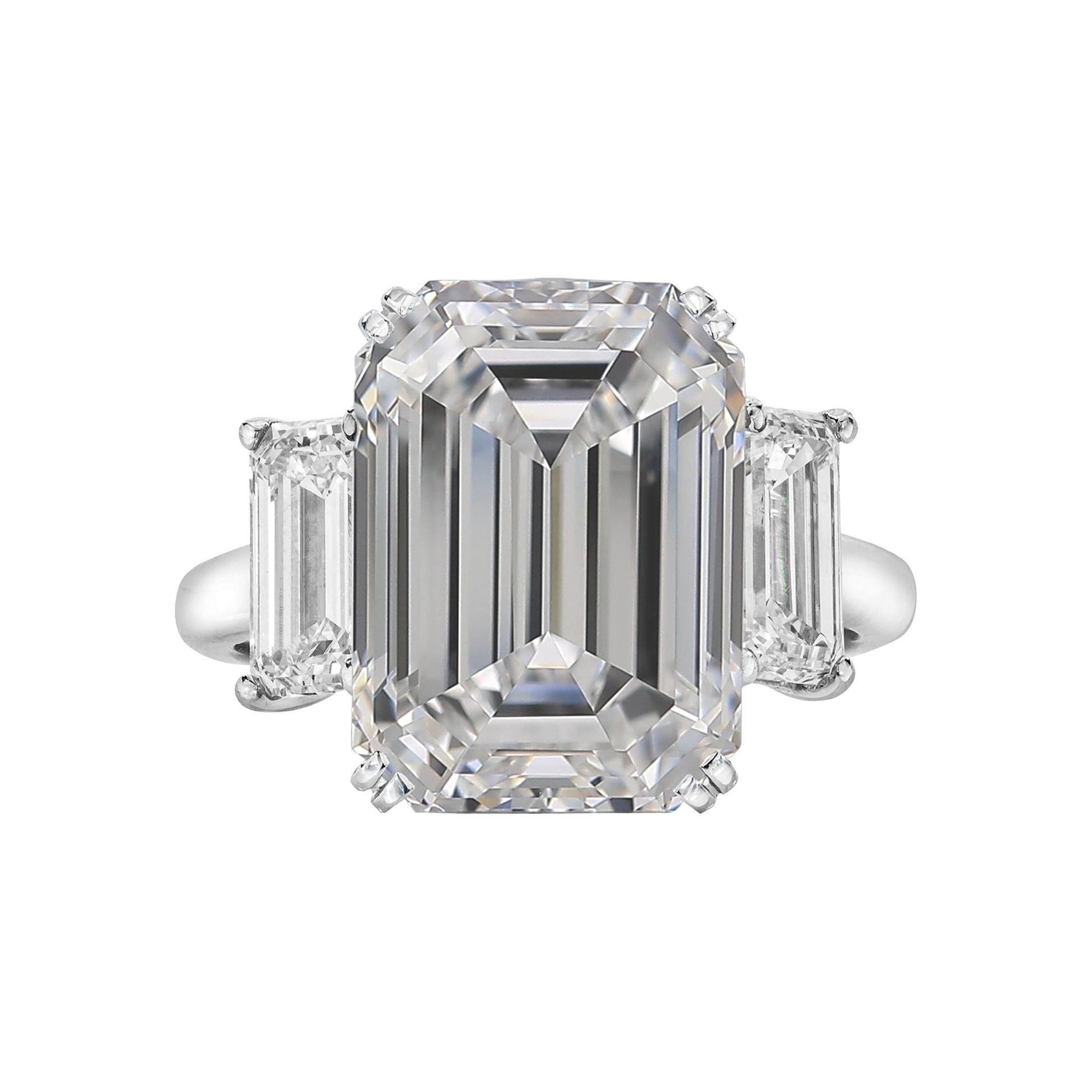 GIA Certified 3.50 Carat Three-Stone Emerald Cut Diamond Platinum Ring