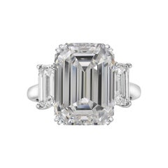 GIA Certified 3.50 Carat Three-Stone Emerald Cut Diamond Platinum Ring