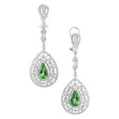 GIA Certified 3.50 Carat Tsavorite Garnet Diamond Gold Dangle Drop Earrings