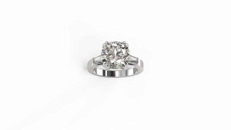 Modern GIA Certified 3.50 Carat Round Brilliant Cut Diamond Platinum Ring  For Sale