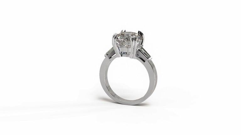 Round Cut GIA Certified 3.50 Carat Round Brilliant Cut Diamond Platinum Ring  For Sale