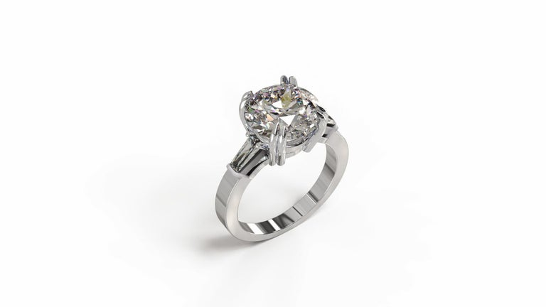GIA Certified 3.50 Carat Round Brilliant Cut Diamond Platinum Ring  In New Condition For Sale In Rome, IT