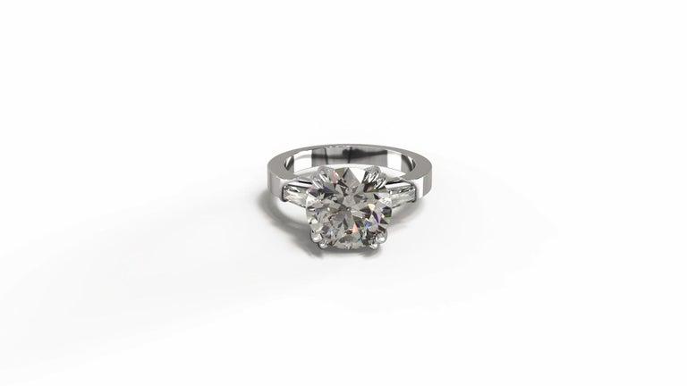 Men's GIA Certified 3.50 Carat Round Brilliant Cut Diamond Platinum Ring  For Sale