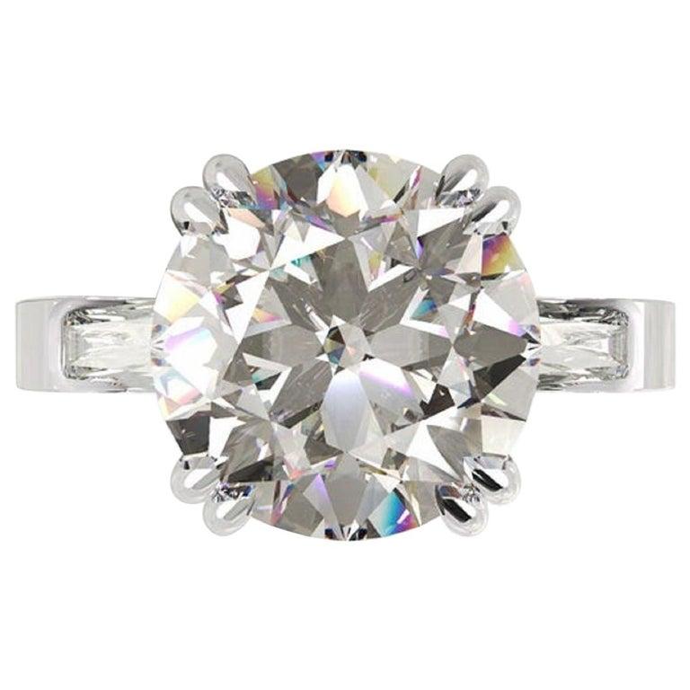 GIA Certified 3.50 Carat Round Brilliant Cut Diamond Platinum Ring  For Sale