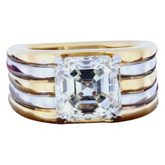 GIA Certified 3.51 Carat Asscher Cut Diamond Multicolored Gold Ring