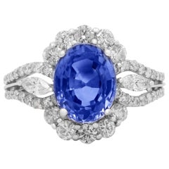 GIA Certified 3.51 Carat Blue Sapphire Ring with Diamonds and White Gold
