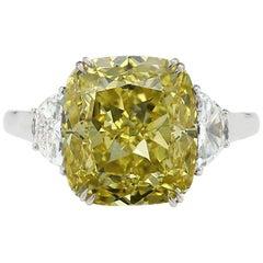 GIA Certified 3.51 Carat Cushion Cut Fancy Intense Yellow Diamond Ring