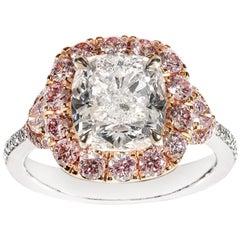 GIA Certified 3.51 Carat Diamond Cluster Ring