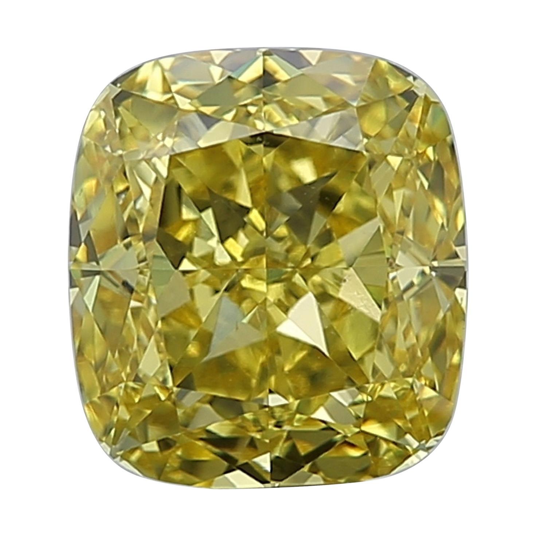 GIA Certified 3.51 Carat Fancy Intense Yellow Cushion Diamond VS2 Clarity