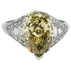 GIA Certified 3.51 Carat Pear Shape Yellow Diamond Engagement Ring