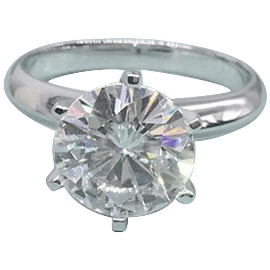 GIA Certified 3.01 Carat Round Brilliant Cut Diamond Engagement Ring