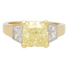 GIA Certified 3.51ct Fancy Yellow Diamond Three Stone Ring Set in 18k Gold