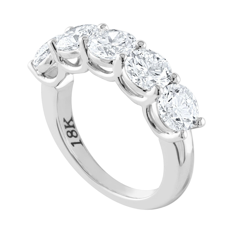 GIA Certified 3.52 Carat Diamond Five-Stone Gold Half Band Ring