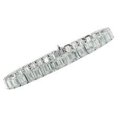 GIA Certified 35.28 Carat Emerald Cut Tennis Bracelet
