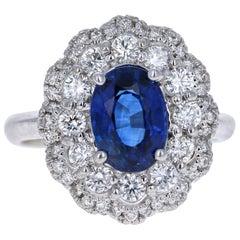 GIA Certified 3.53 Carat Blue Sapphire Diamond 18 Karat White Gold Ring