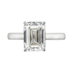 GIA Certified 3.53 Carat Emerald Cut Diamond Solitaire Engagement Ring