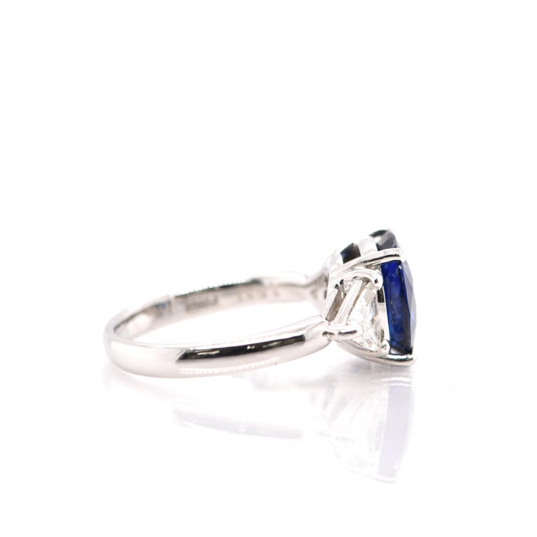 Women's GIA Certified 3.53 Carat Madagascar Sapphire and Diamond Ring Set in Platinum For Sale