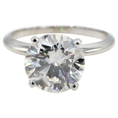 GIA Certified 3.53 Carat Round Brilliant J SI2 Platinum Diamond Engagement Ring